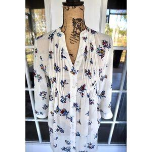 American Rag Cream Floral Tie Button Sheer Top